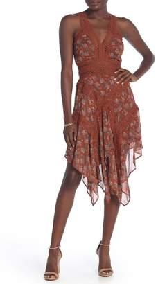 Fanco Floral Crochet Trim Midi Dress