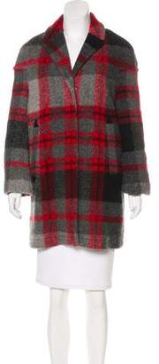 Burberry Leather Trim Wool Coat