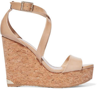 Jimmy Choo Portia 120 Patent-leather Wedge Sandals - Beige