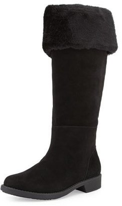 Taryn Rose Avis Faux-Fur-Lined Suede Weather Boot, Black $349 thestylecure.com