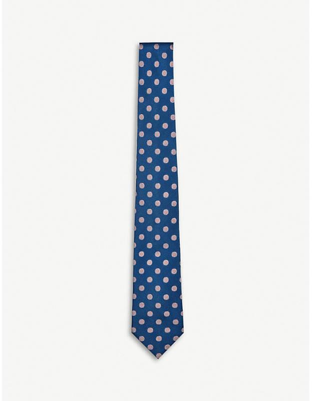 Olav spot woven silk tie