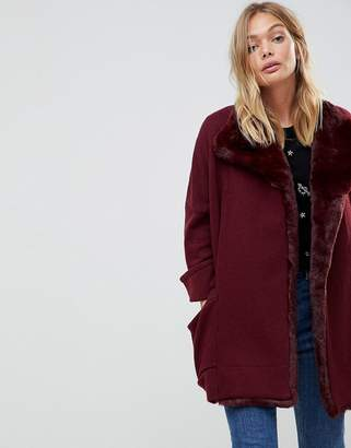 French Connection Whistler Faux Fur Trim Wool Blend Oversized Jacket