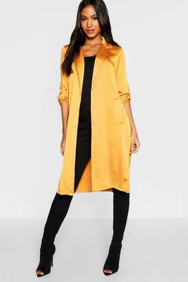 boohoo Satin Button Front Duster