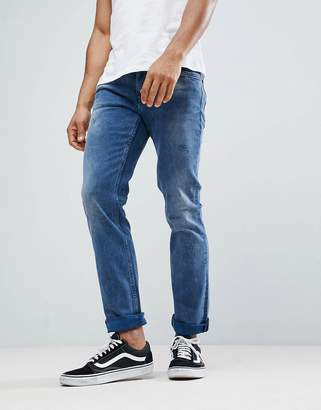 BOSS Slim Fit Mid Washed Distressed Jeans