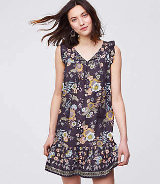 LOFT Floral Tassel Flounce Dress
