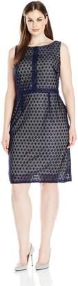 Gabby Skye Women's Plus Size Sleeveless Decorative Crochet a-Line Dress, Navy/Nude, 14W