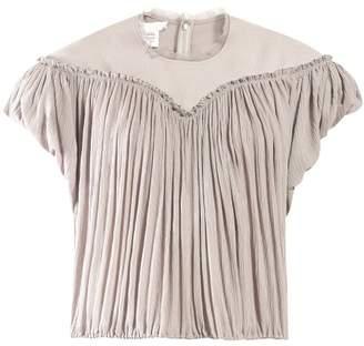 Chloé Crinkle Pleated Crepe Top - Womens - Light Grey