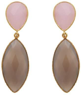 Carousel Jewels - Rose Quartz & Chalcedony Double Drop Long Earrings