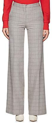 Off-White WOMEN'S PLAID COTTON-BLEND TROUSERS - TARTAN FORMAL FABRIC SIZE 40 FR