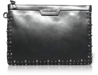 Jimmy Choo Derek Black Leather Clutch w/Pearl Studs