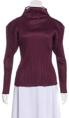 Pleats Please Issey Miyake Mock Neck Pleated Top