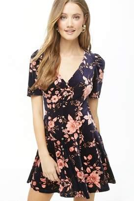 Forever 21 Floral Print Velvet Mini Dress