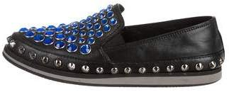 Prada Sport Leather Embellished Loafers