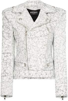 Balmain cracked effect biker jacket