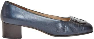 Salvatore Ferragamo Navy Leather Heels