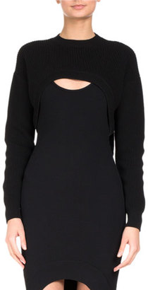 Givenchy Ribbed Wool Cutaway Cropped Sweater