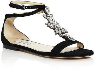 Jimmy Choo Women's Averie Embellished Suede T-Strap Sandals
