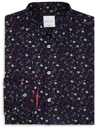 Paul Smith Hand-Drawn Floral Slim Fit Dress Shirt