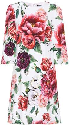 Dolce & Gabbana Rose-printed crepe dress