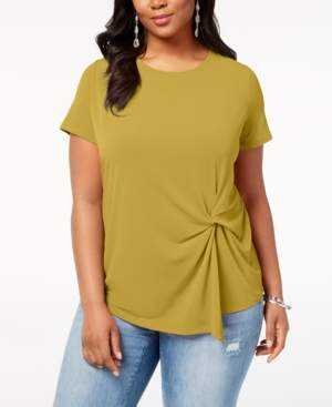 INC International Concepts I.n.c. Plus Size Twisted Asymmetrical Top, Created for Macy's