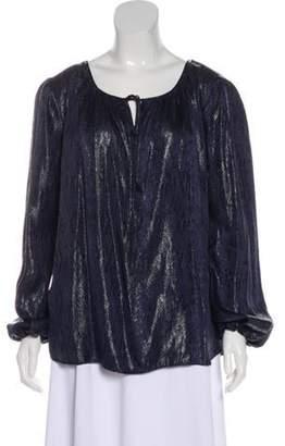 L'Agence Silk Printed Top Blue Silk Printed Top