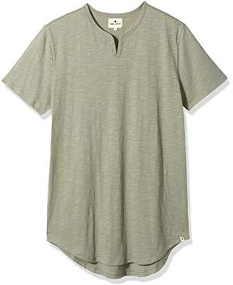 Rebel Canyon Young Men's Longline Shirt-Tail Short Sleeve Henley T-Shirt With Curved Hem