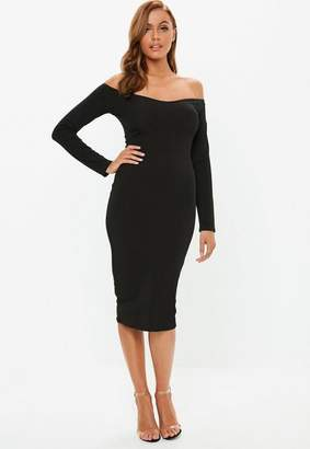 Missguided Black Bardot Slinky Ribbed Midi Dress