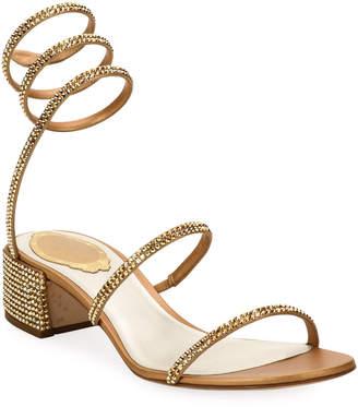 Rene Caovilla Crystal Snake 40mm Sandals, Gold
