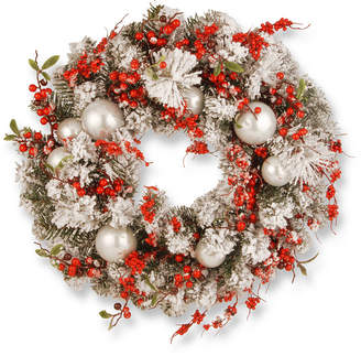 """National Tree Company 24"""" Christmas Wreath with Red and White Ornaments"""