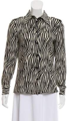 Gianni Versace Animal Print Wool Button-Up