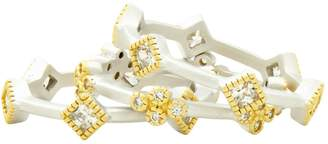 Freida Rothman Set of 3 Crystal Stackable Rings