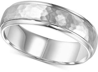 Macy's Hammered Bevel Edge Wedding Band in 14k White Gold