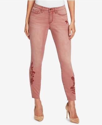 Vintage America Petite Embroidered Skinny Ankle Jeans