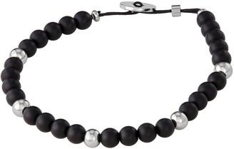 Vera Wang Simply Vera Men's Black Agate & Stainless Steel Bead Bracelet