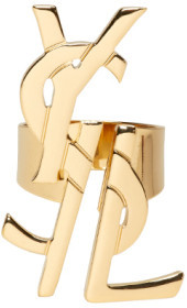 Saint Laurent Saint Laurent Gold Monogram Deconstructed Ring