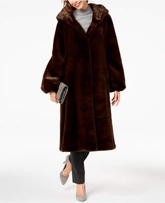 Jones New York Hooded Faux-Fur Coat
