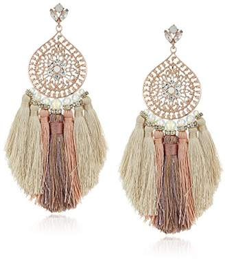 Badgley Mischka Womens Multi Tassel Filigree Drop Earrings