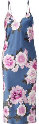 Fleur Du Mal Floral-print Silk-satin Midi Dress - Royal blue
