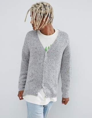 Asos DESIGN heavyweight cardigan in gray speckled yarn