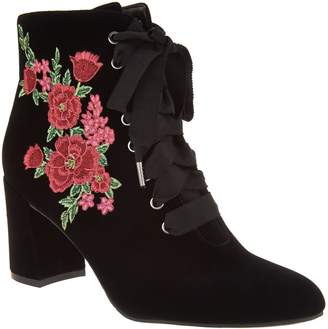 Isaac Mizrahi Live! Velvet Floral Embroidered Lace-up Booties