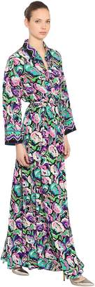 Emilio Pucci PRINTED SILK CREPE LONG SHIRT DRESS
