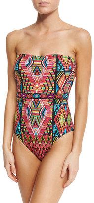 Nanette Lepore Mosaic Bandeau One-Piece Swimsuit $156 thestylecure.com