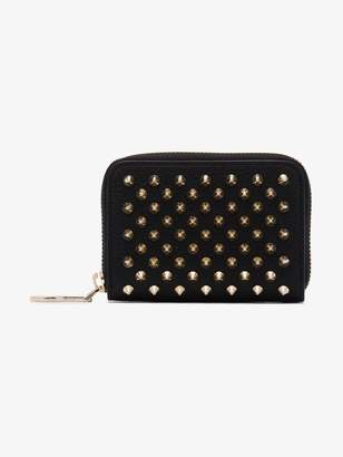 Christian Louboutin black Panettone leather coin purse with spikes