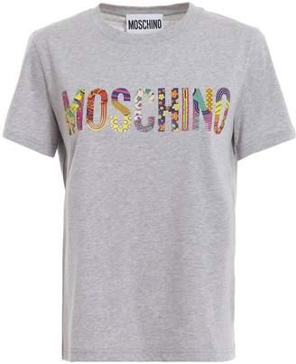 Moschino (モスキーノ) - Moschino Patterned Logo Print Grey T-shirt 07130540a8485