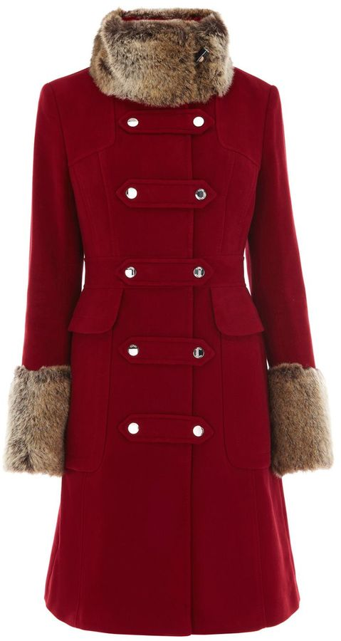 Women's Karen Millen Moleskin coat with fur trim
