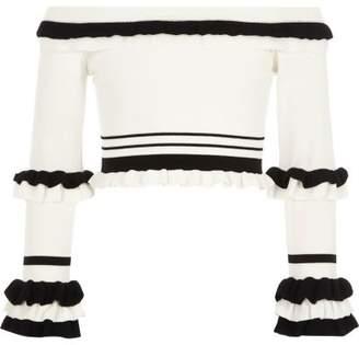 River Island Girls white RI Studio bardot knitted top