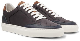 Brunello Cucinelli Leather-Trimmed Nubuck Sneakers - Storm blue