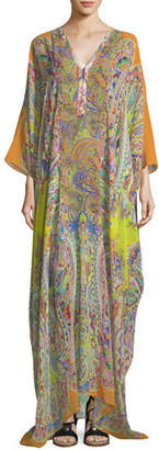 Etro V-Neck Long-Sleeve Printed Long Silk Kaftan Coverup