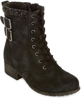 POP Womens Ricardo Lace Up Boots Block Heel Zip