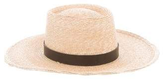 Janessa Leone Leather-Trimmed Straw Fedora Hat w/ Tags